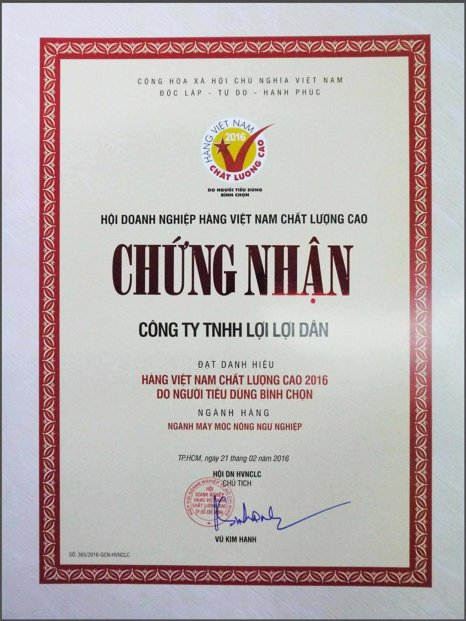 Giải thưởng Hàng Việt Nam Chất Lượng Cao của Lợi Lợi Dân do người dùng bình chọn.